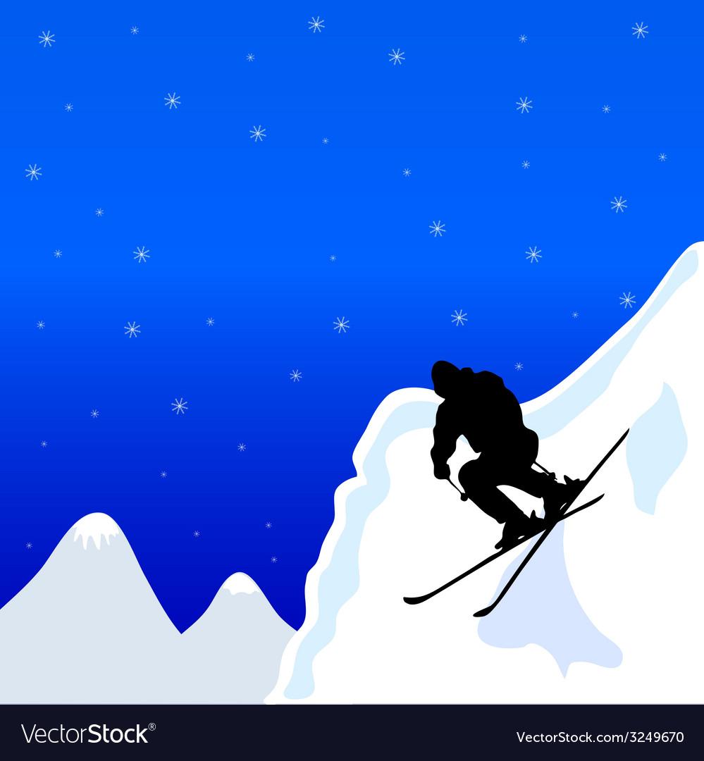 Skiing man in winter vector