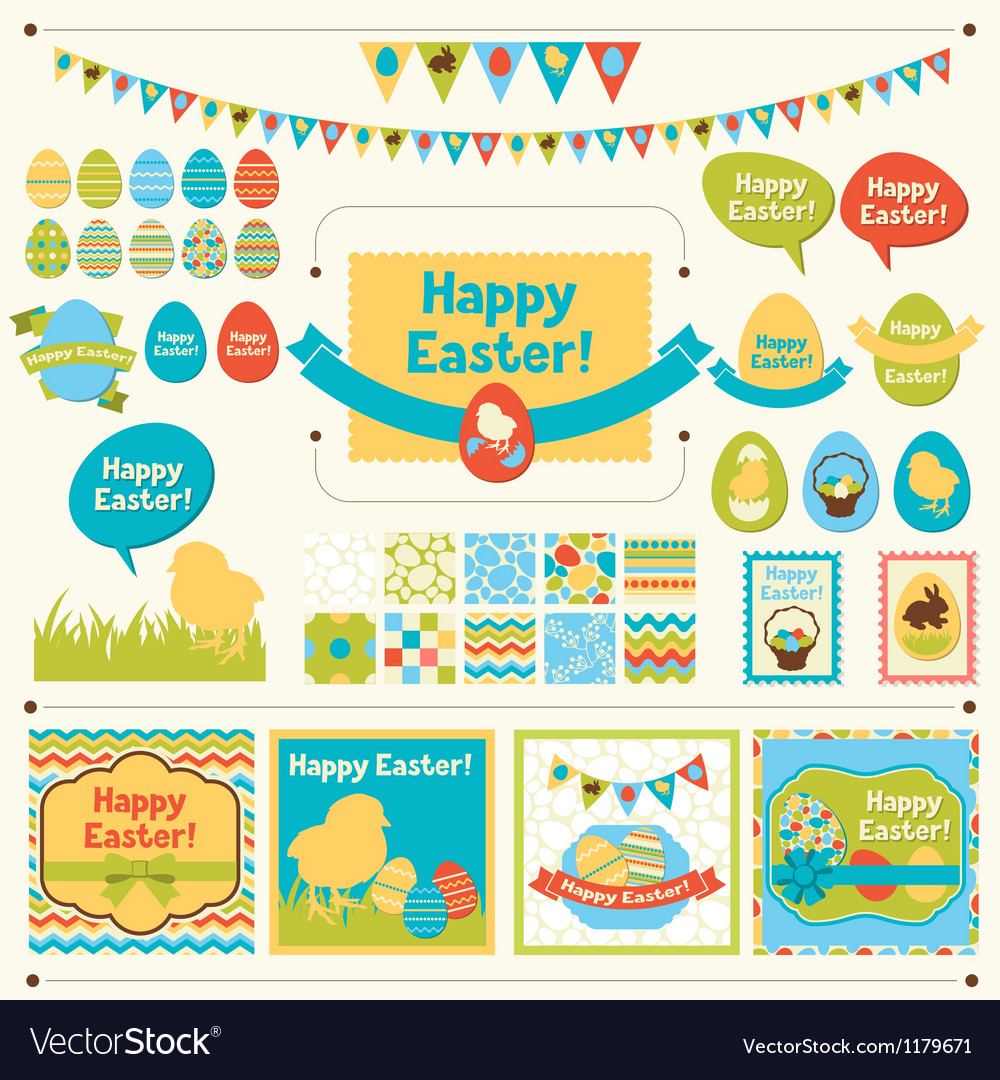 Set of happy easter ornaments vector
