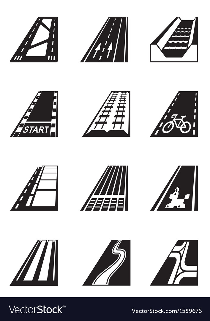 Different types of roads vector