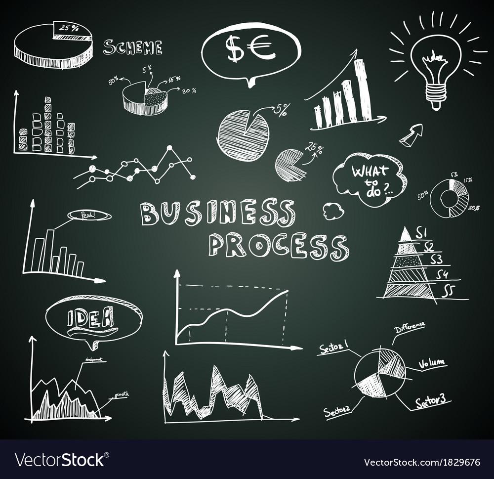 Doodle business diagrams set on blackboard vector