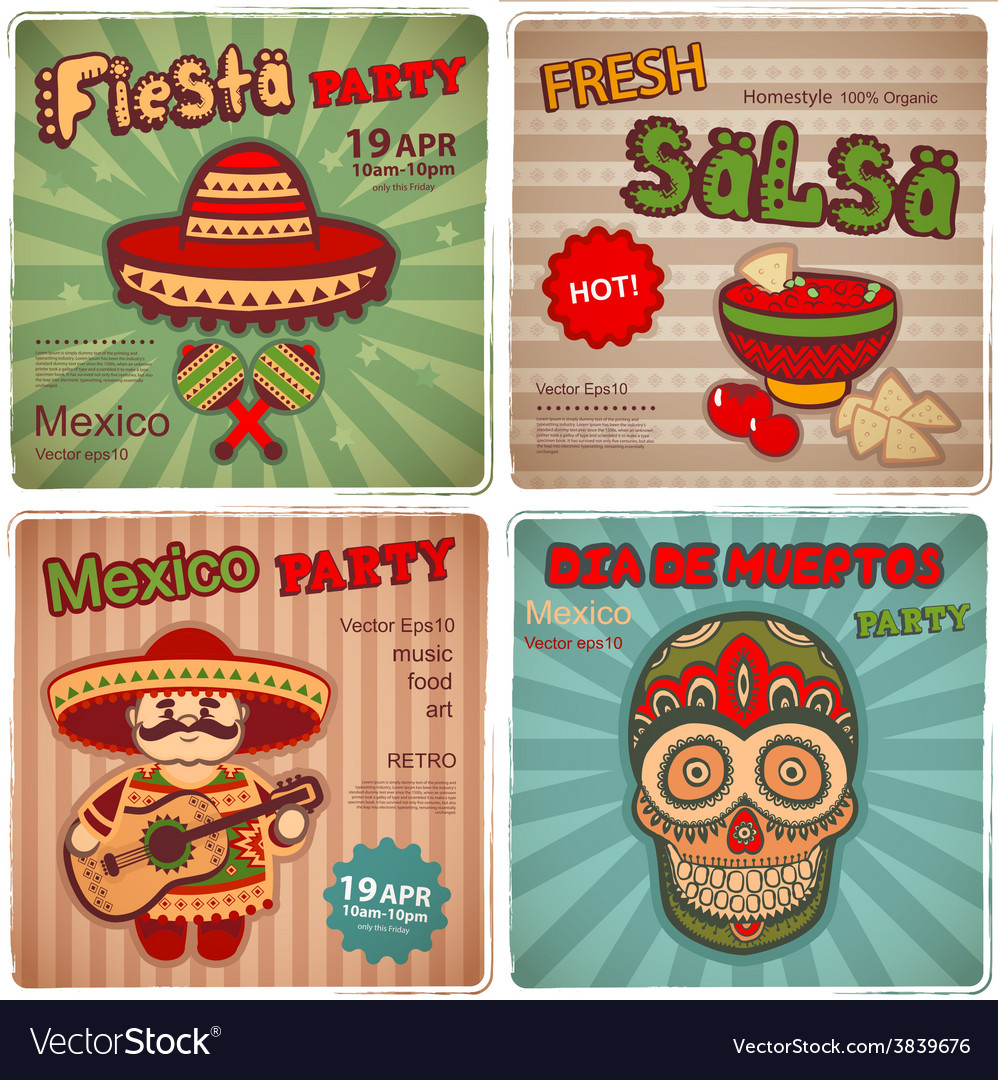 Set of retro banners with mexican symbols vector