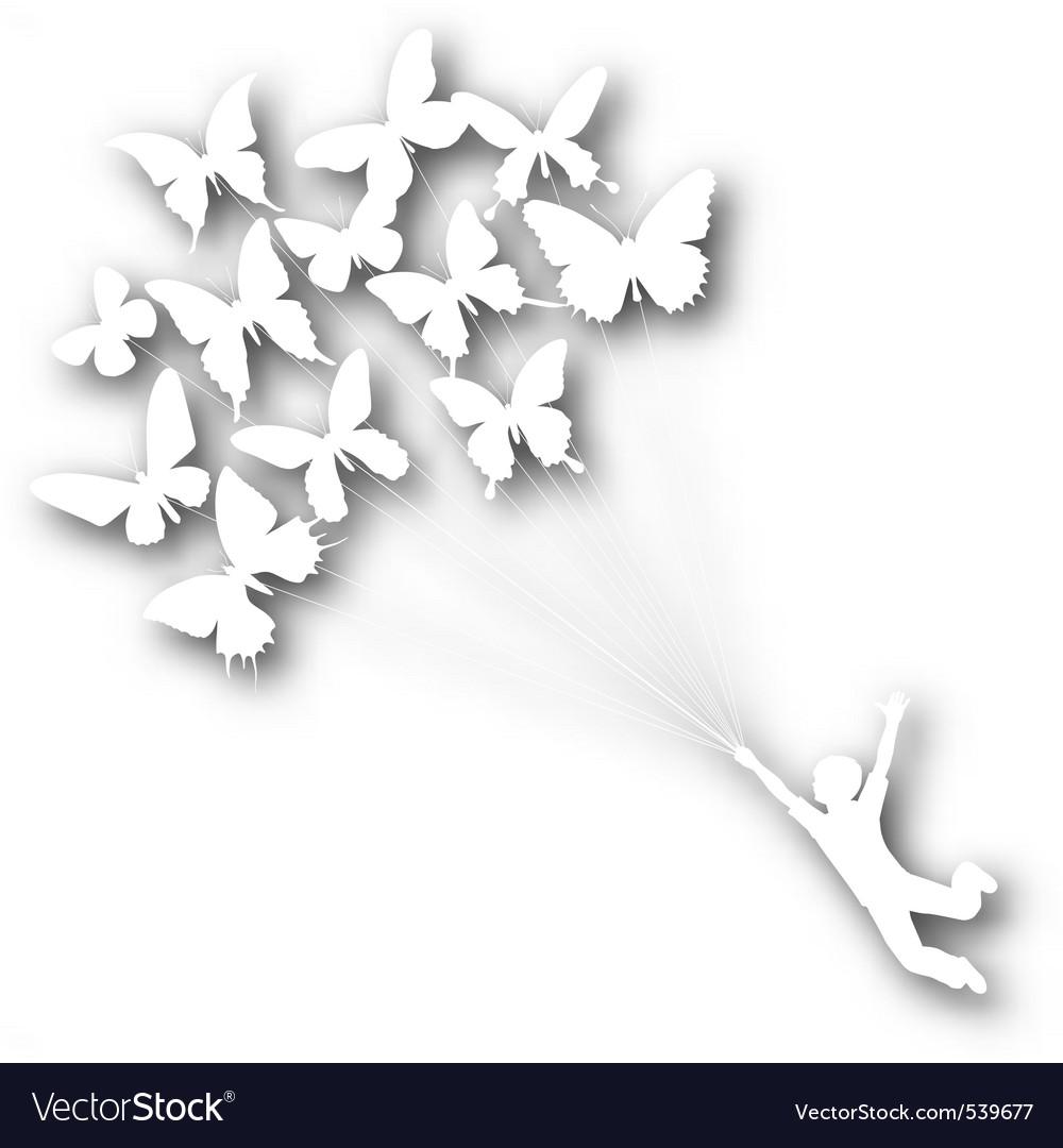Butterfly boy cutout vector