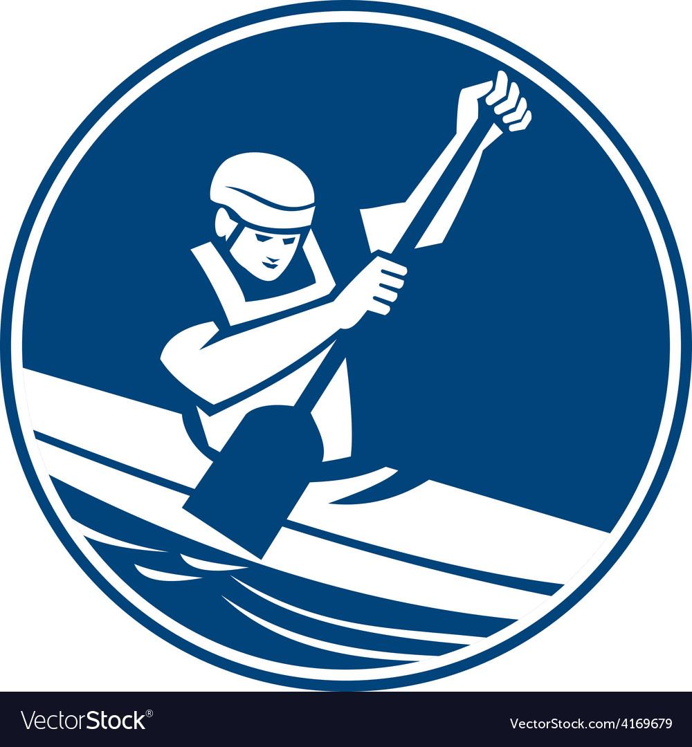 Canoe slalom circle icon vector