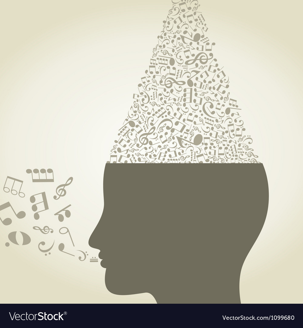 Musical head6 vector