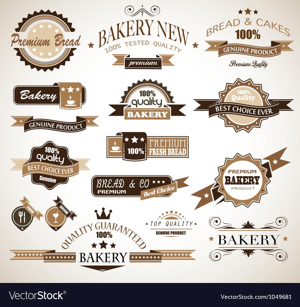 Bakery vinatge labels vector