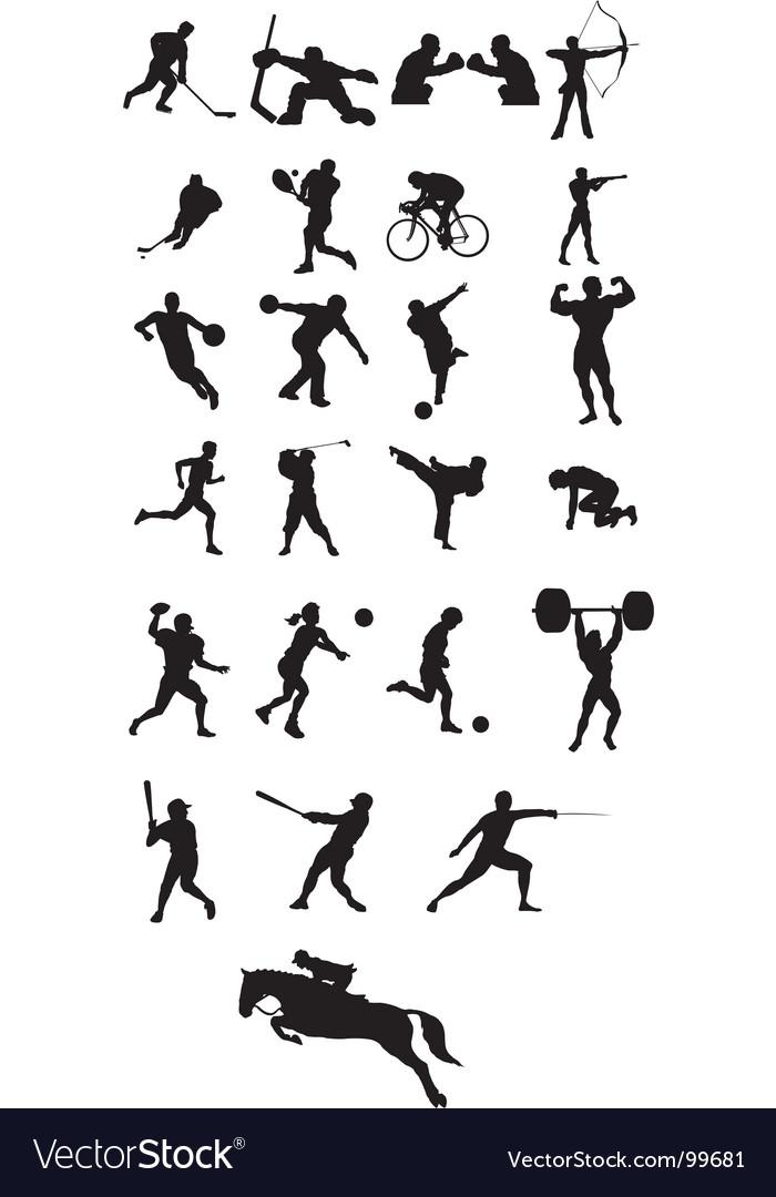 Sport icon silhouettes vector