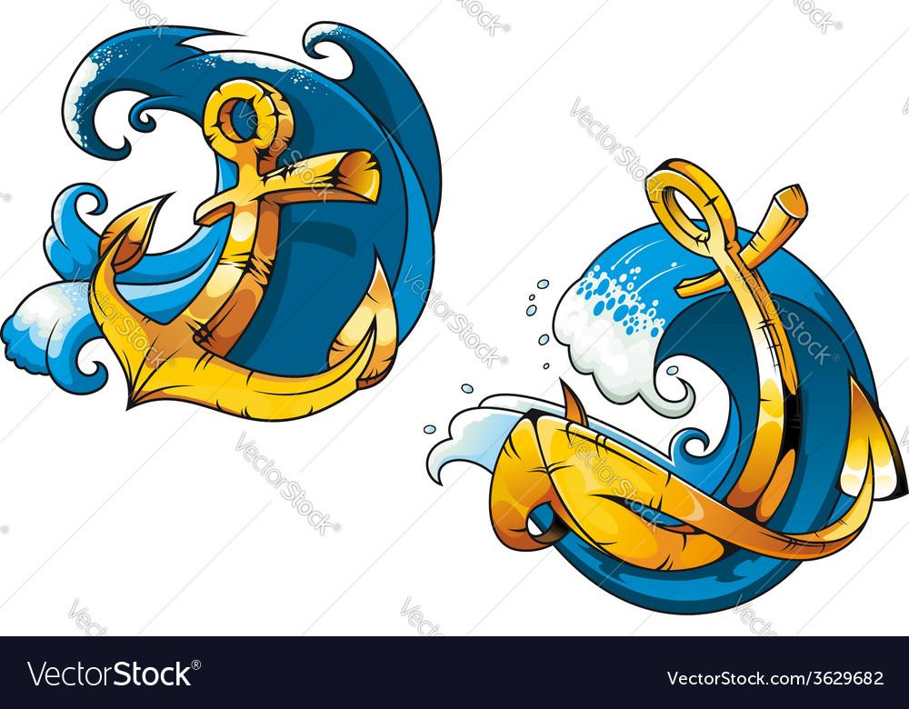 Cartoon ship anchors on sea water waves vector