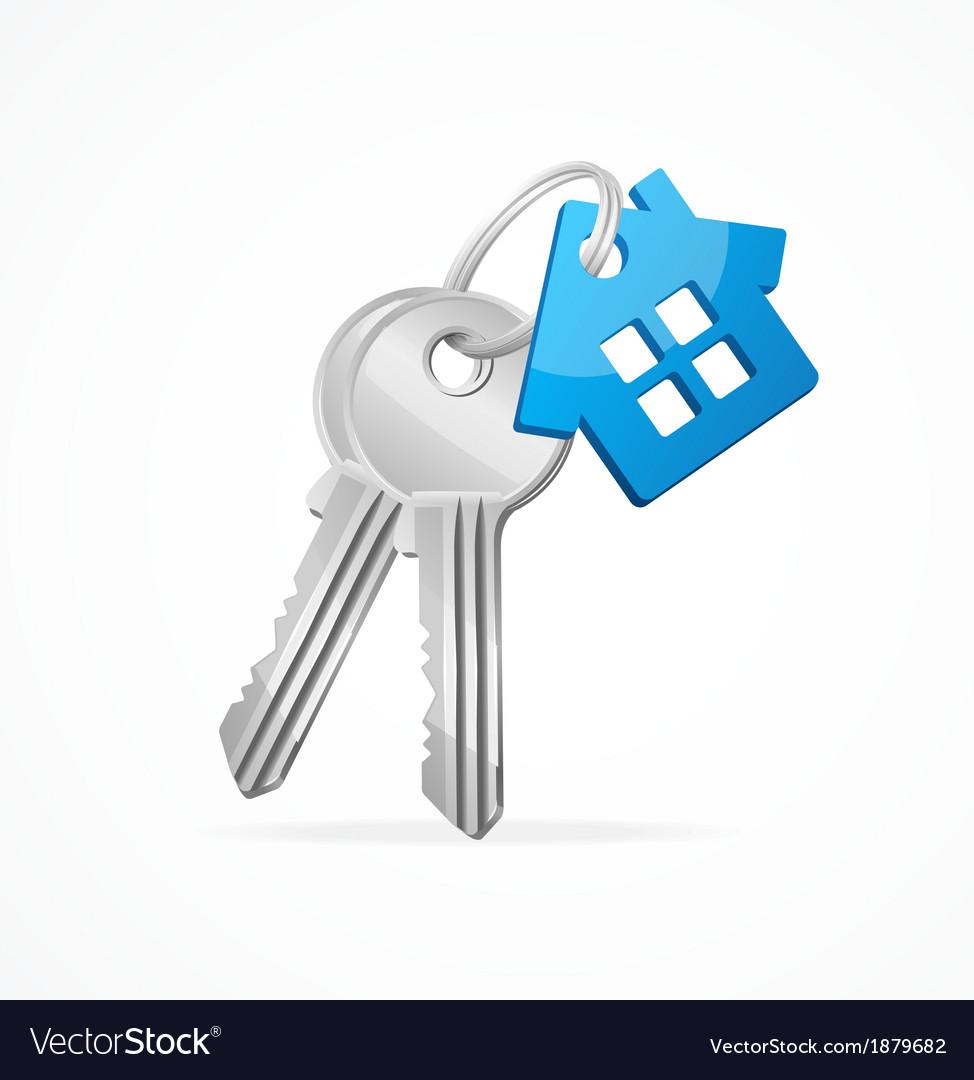 House keys with blue key chain vector