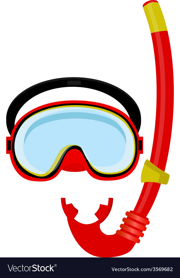Red diving mask and tube vector