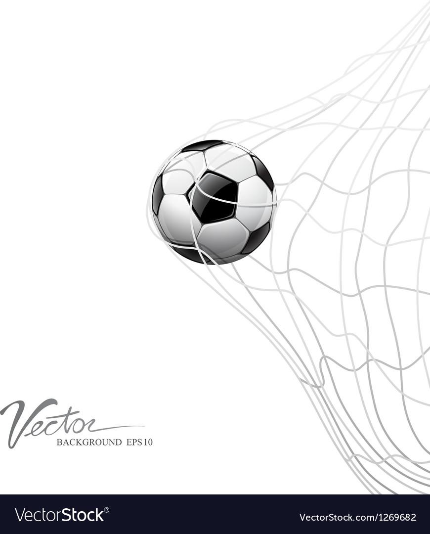Soccer ball in net on goal vector