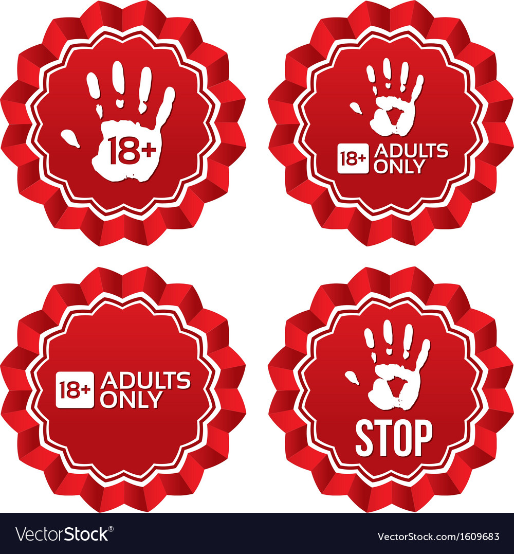 Adults only content labels age limit stickers vector