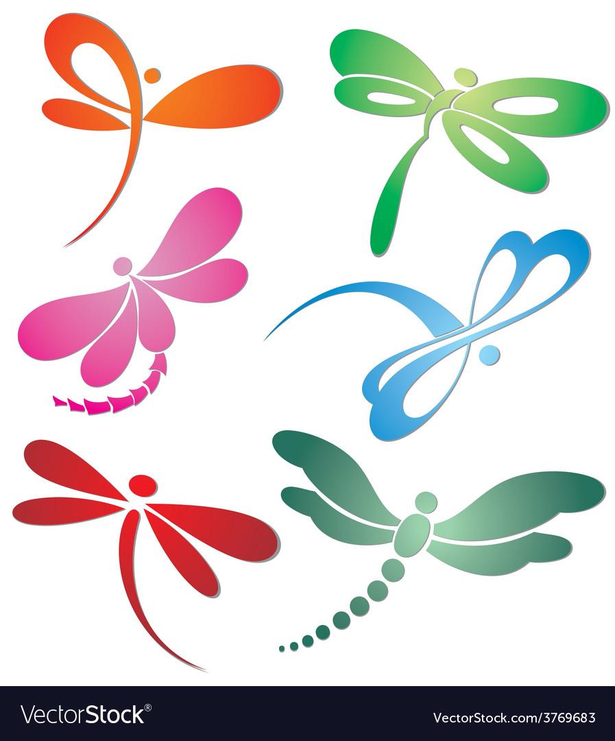 Butterflyn dragonfly logo design vector