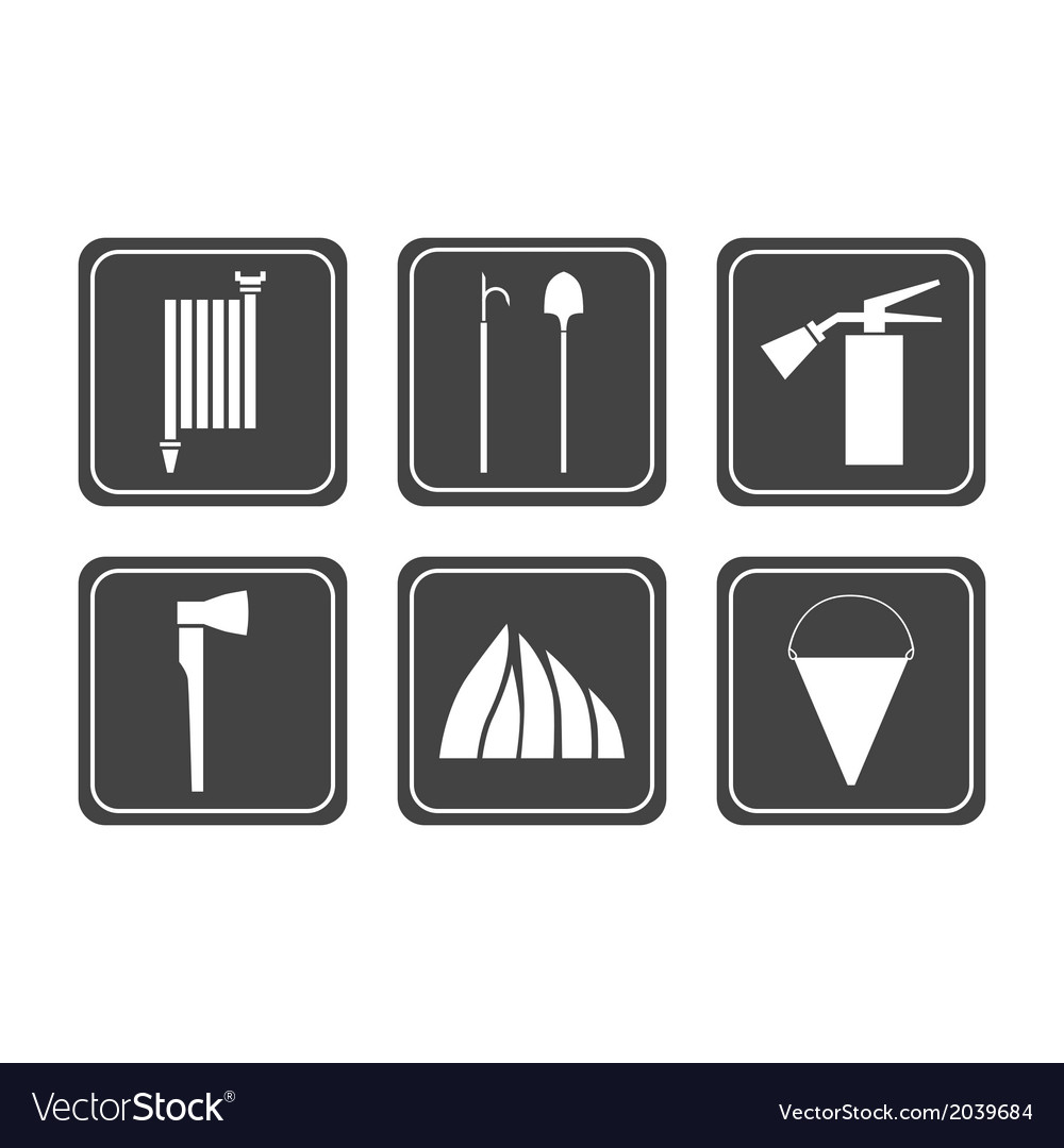 Set of firefighter icons vector