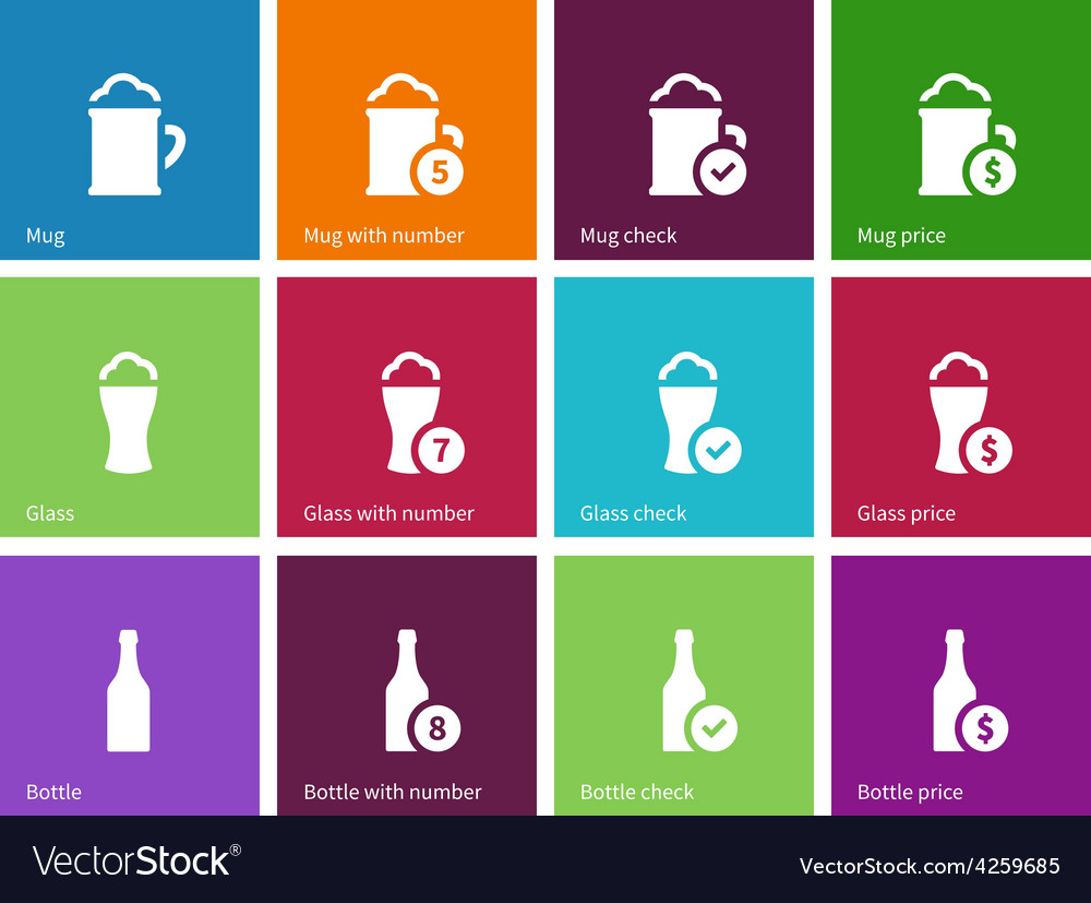 Beer icons on color background vector