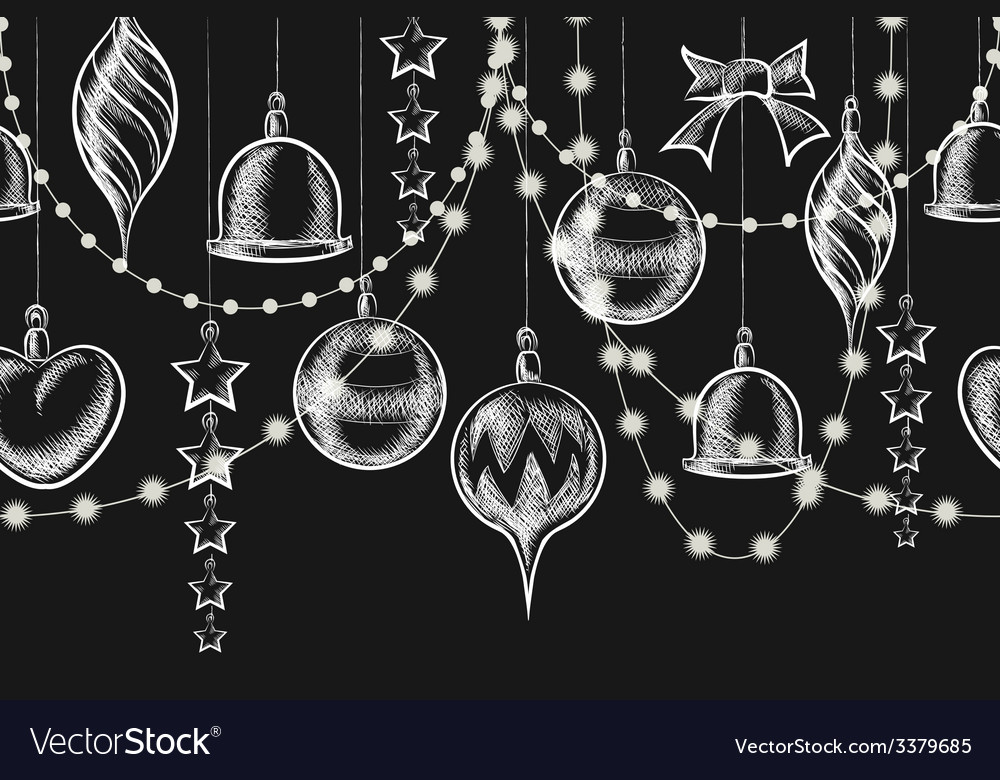 Christmas chalkboard ornament vector