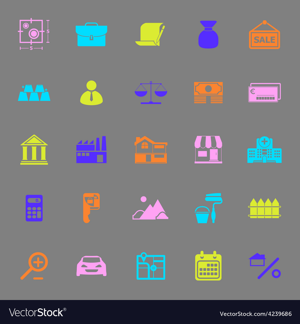 Mortgage and home loan color icons on gray vector