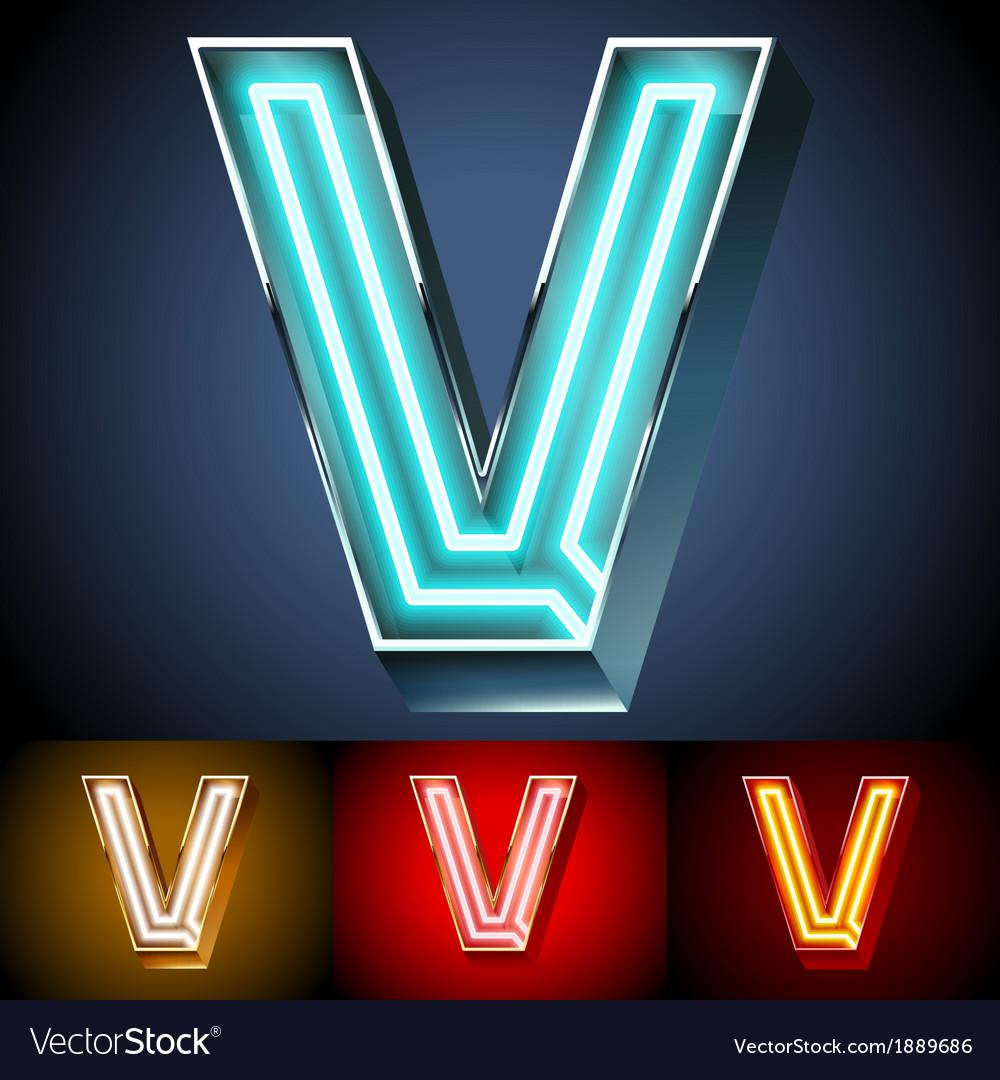 Realistic neon tube alphabet for light board vector