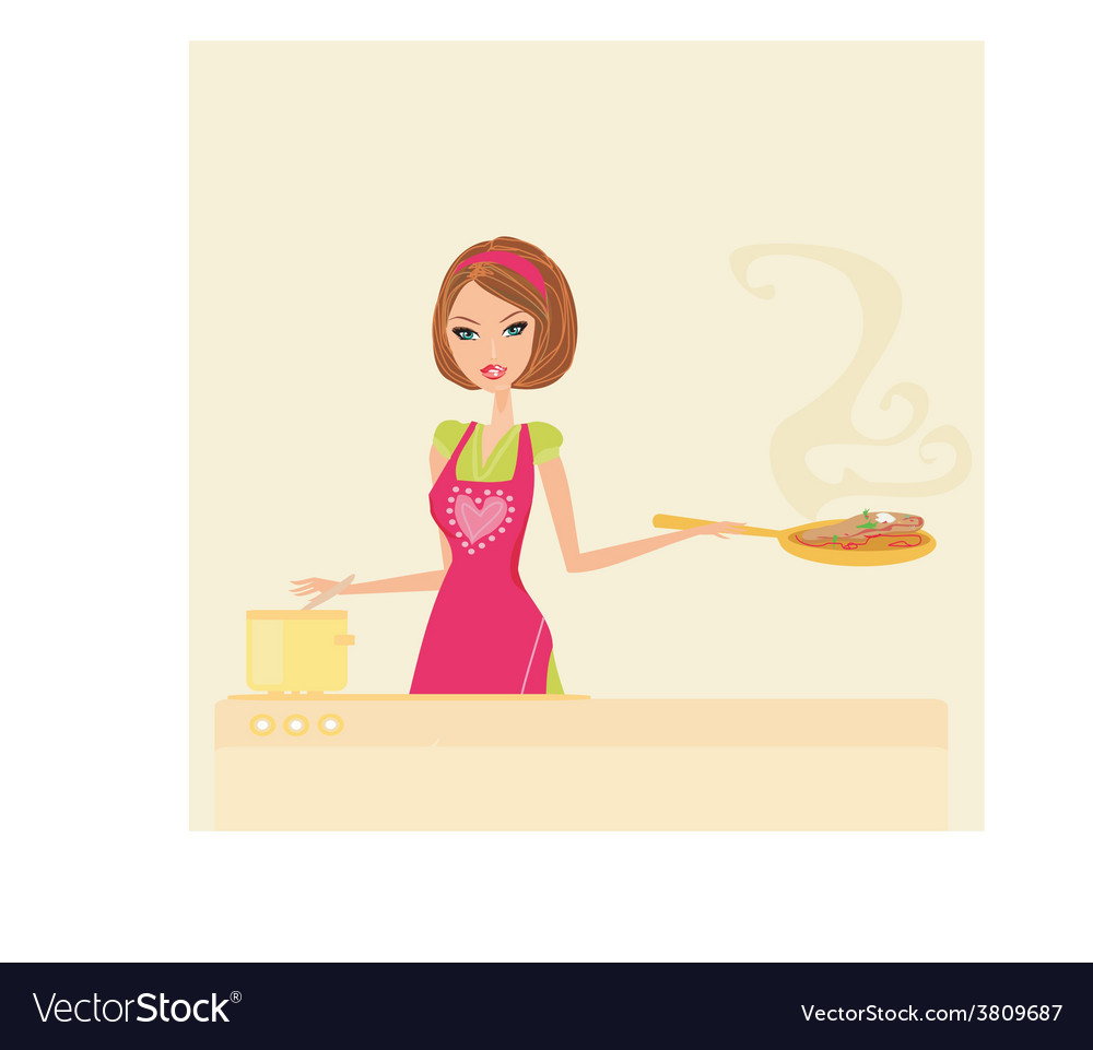 Beautiful lady cooking meat and soup vector