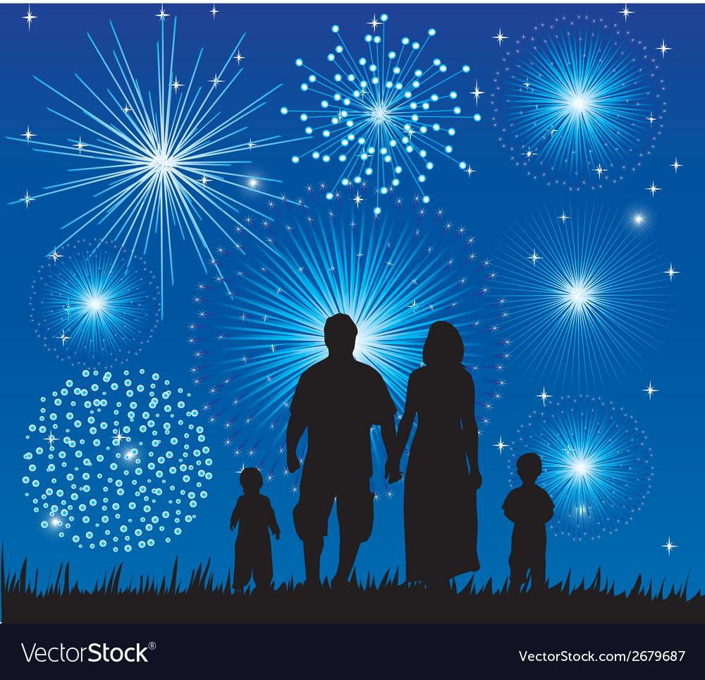 Family fireworks vector