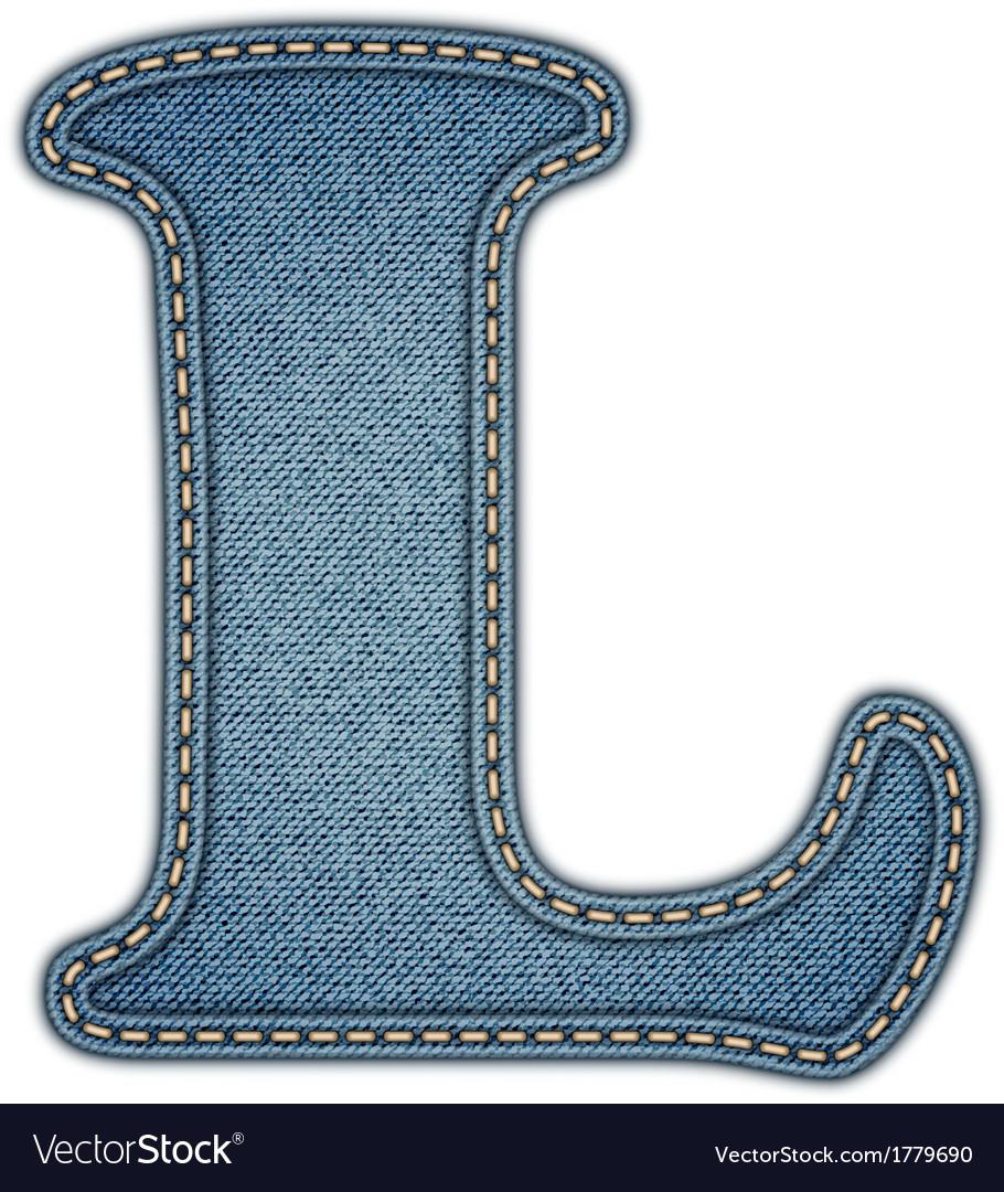 Denim letter jeans alphabet vector