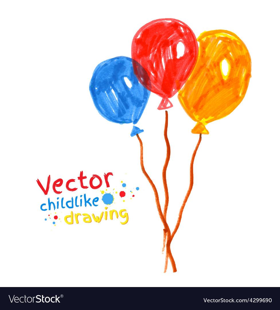 Felt pen childlike drawing of balloons vector