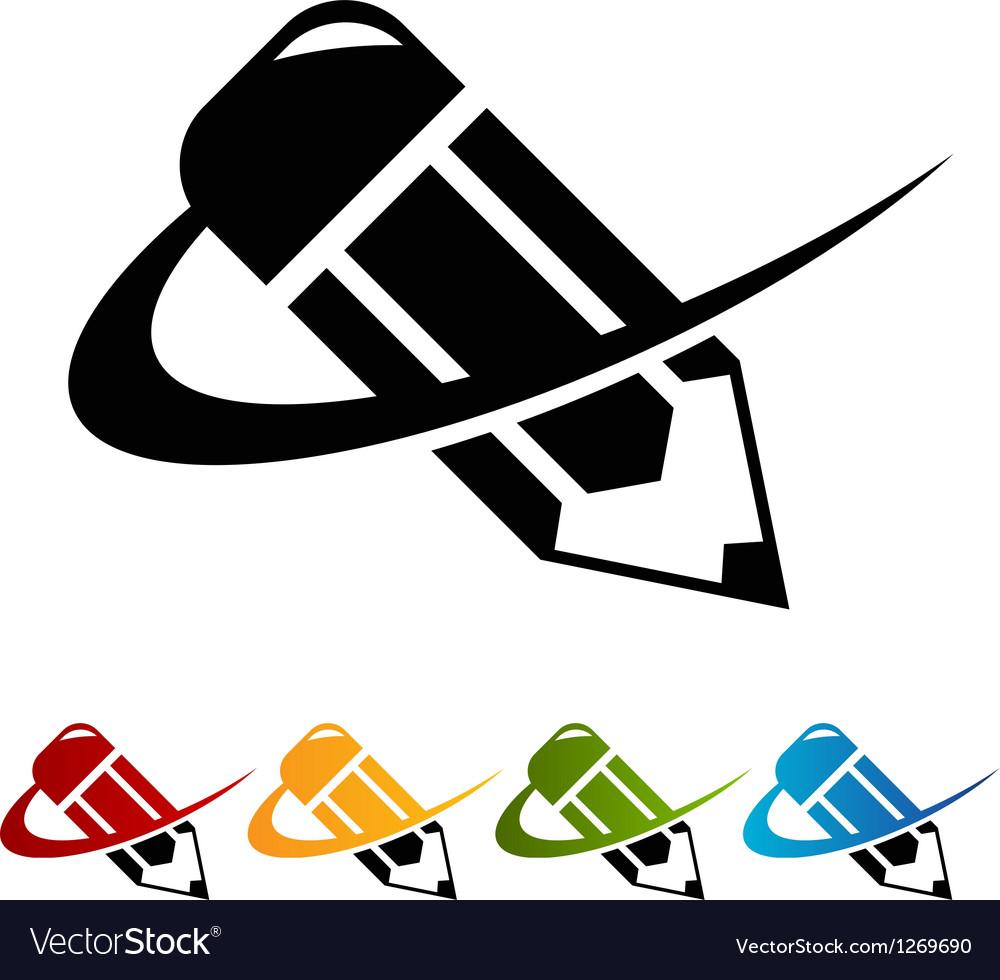 Swoosh pencil logo icons vector