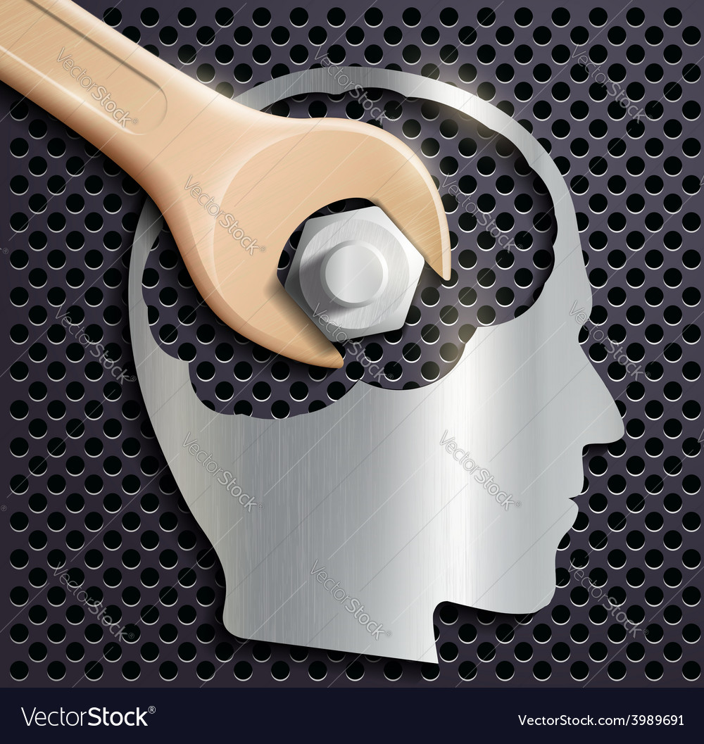 Human head and a wrench with a nut vector