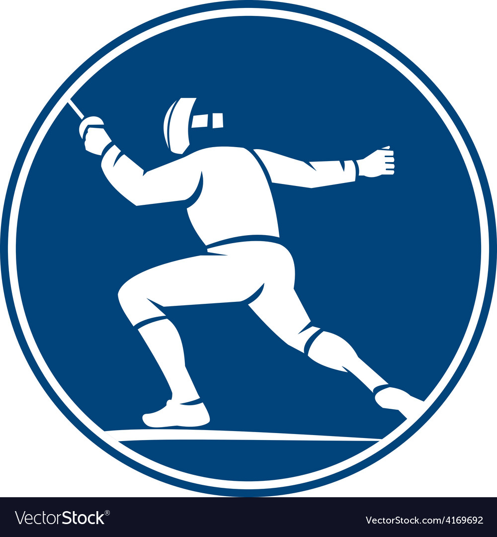 Fencing side circle icon vector