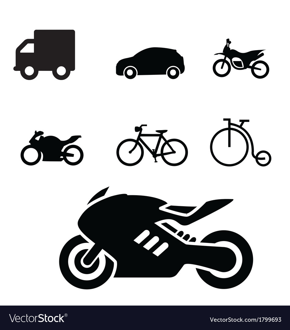 Set of vehicles icon vector