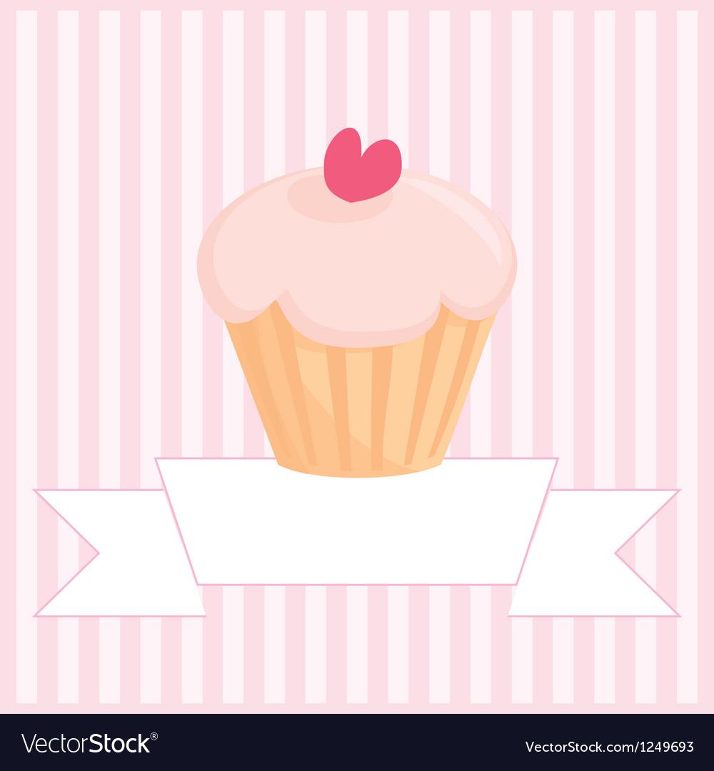 Sweet retro love cupcake pink vintage card vector