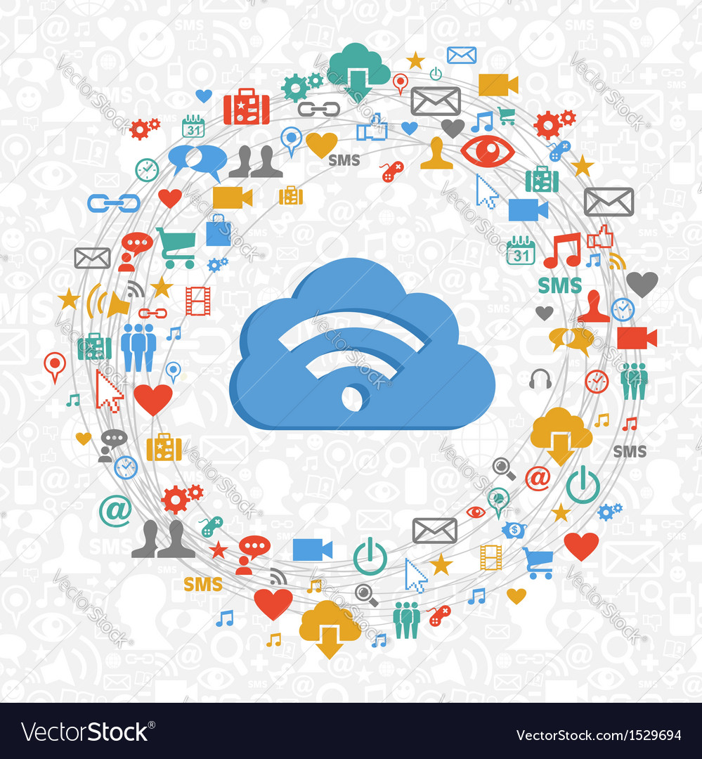 Cloud computing service circle vector