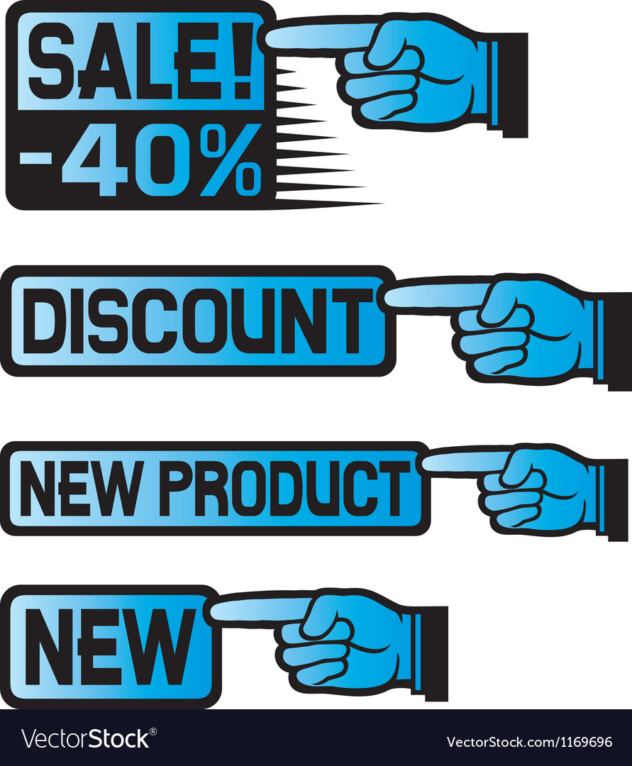 Price tag set-sales finger vector