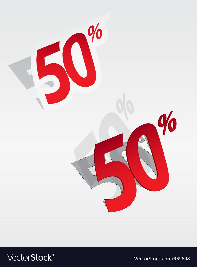 50 sale percents label vector