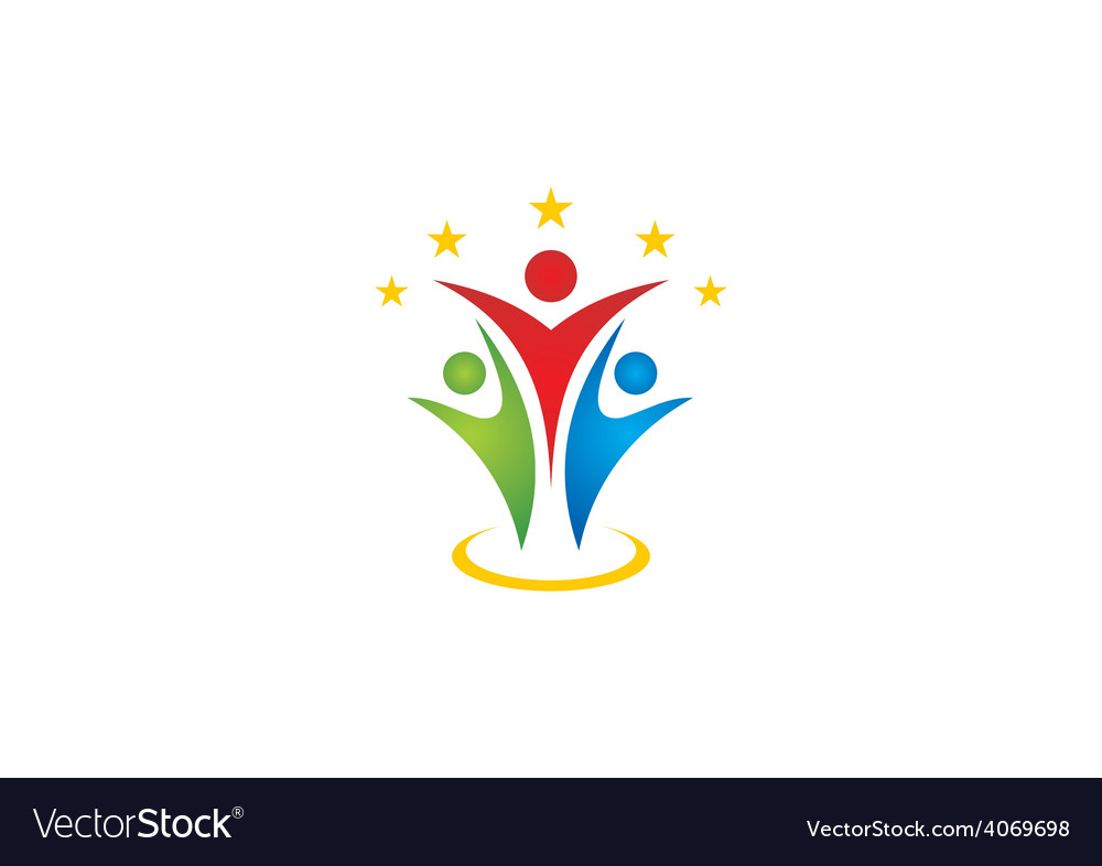 Happy people success abstract logo vector