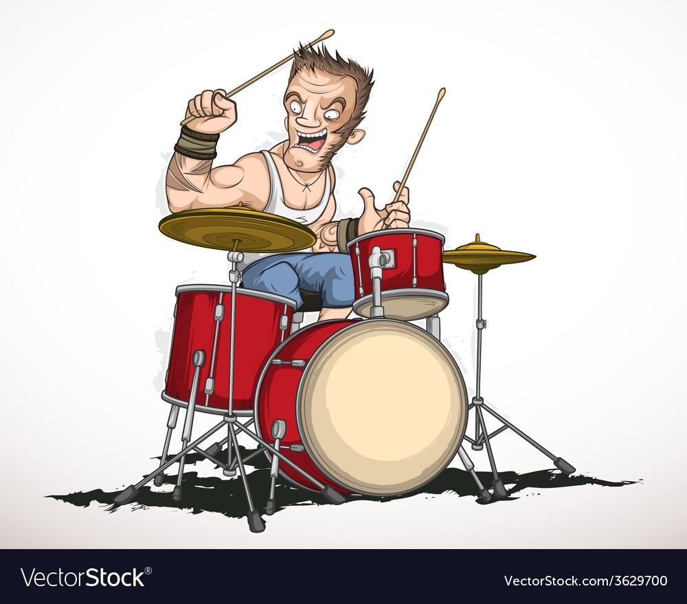 Rock musician drummer vector