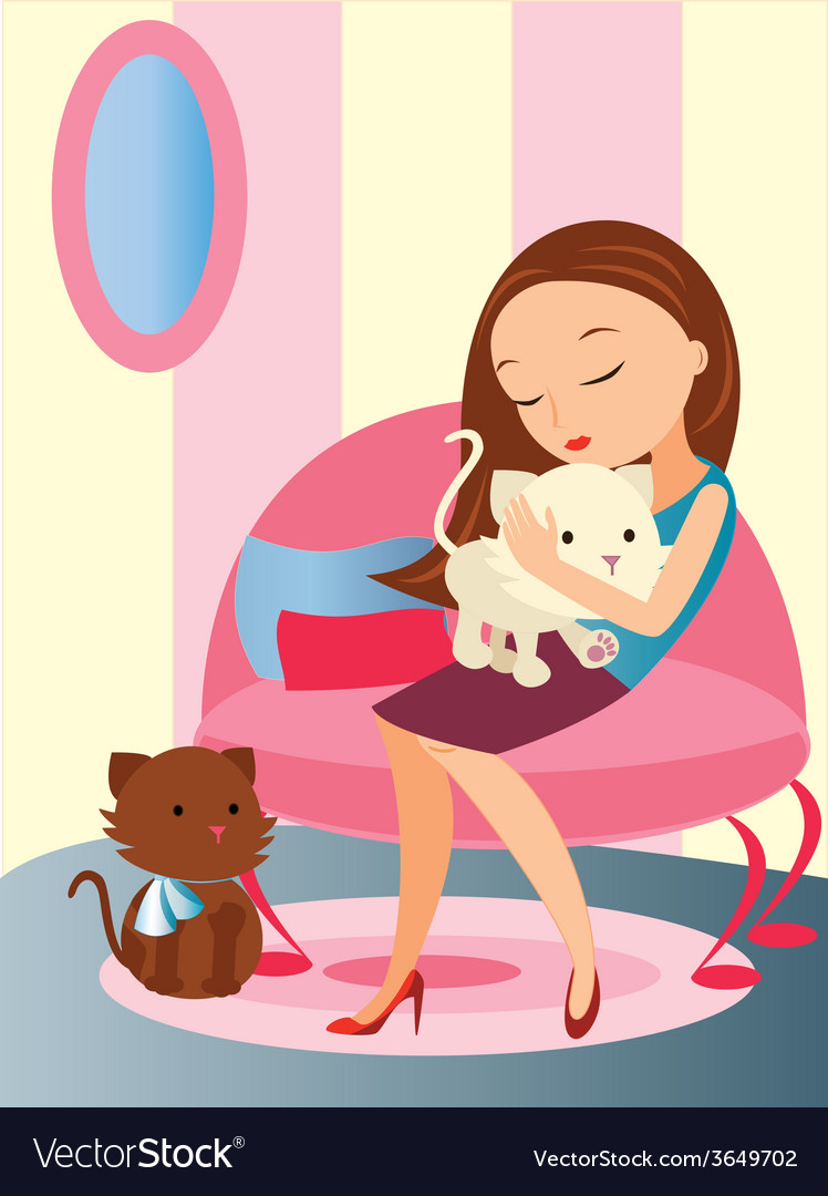 Girl-with-her-pet vector