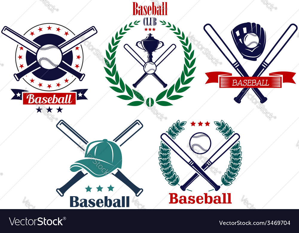 Baseball sporting heraldic emblems vector