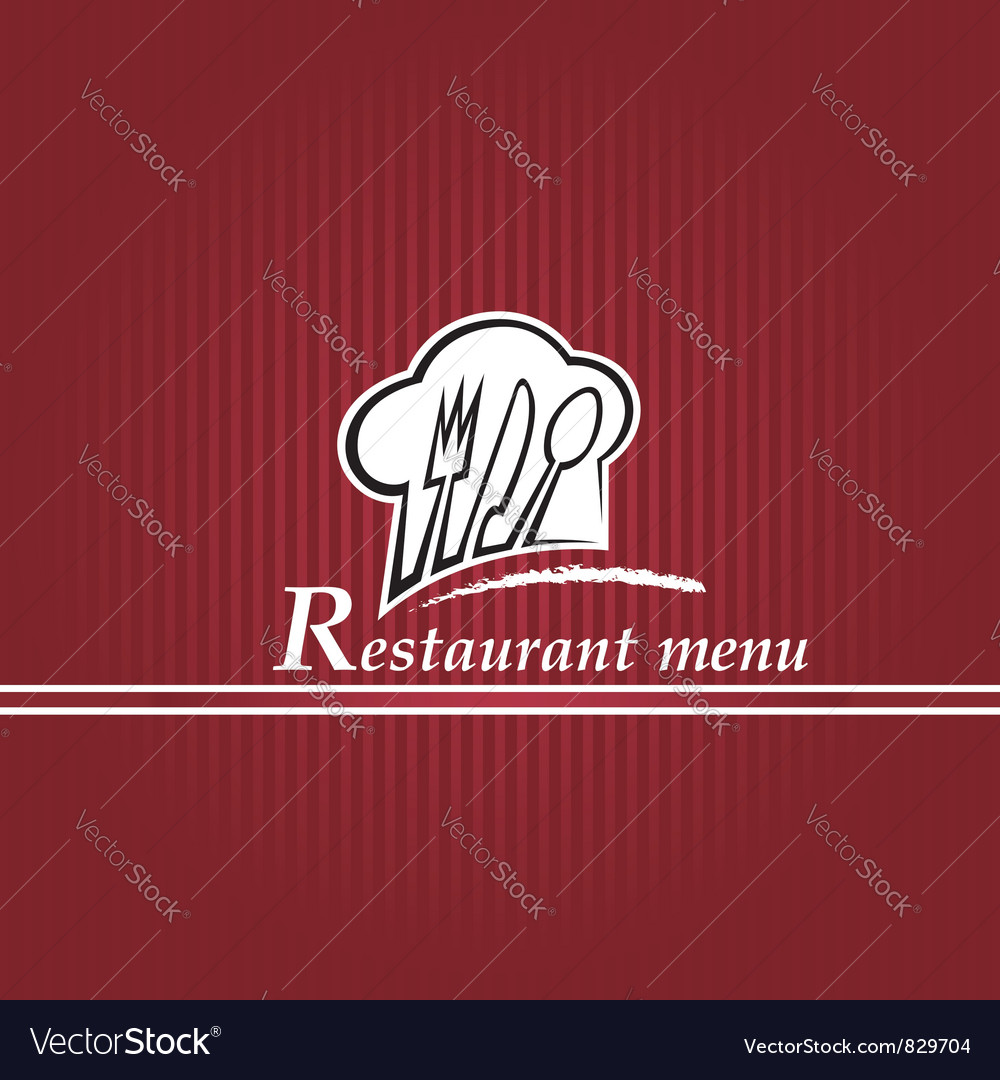 Chef hat with spoon knife and fork vector