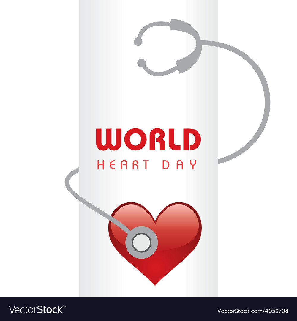 Creative world heart day greeting vector