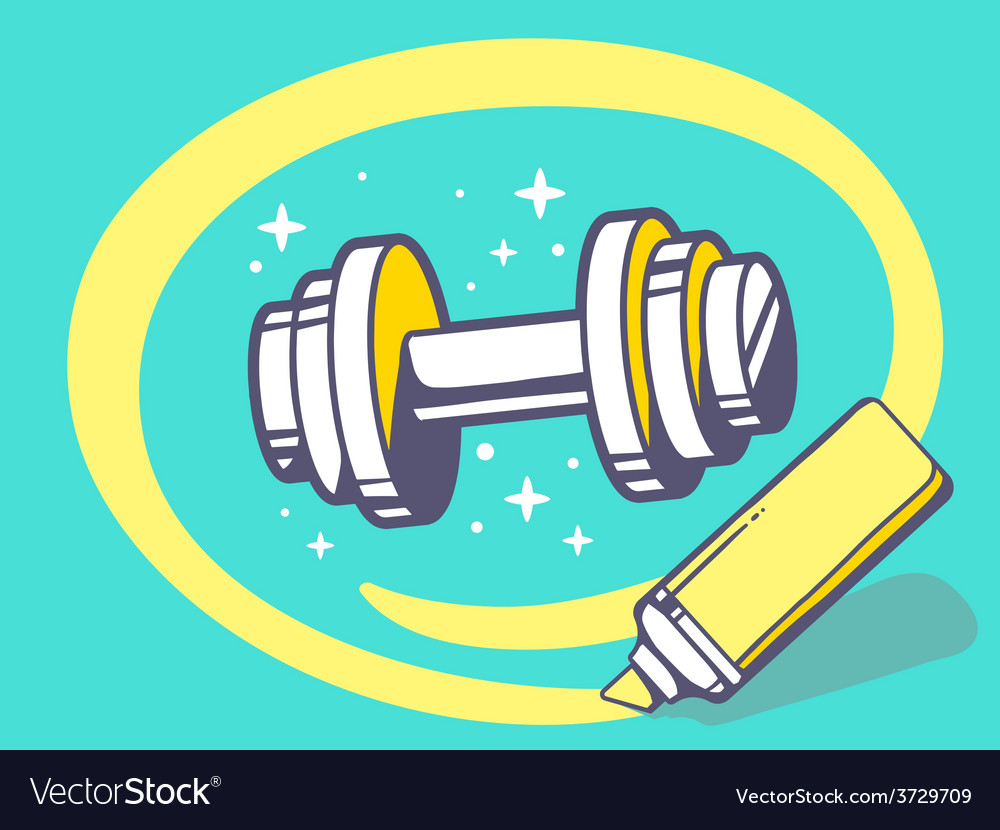 Marker drawing circle around dumbbell on vector