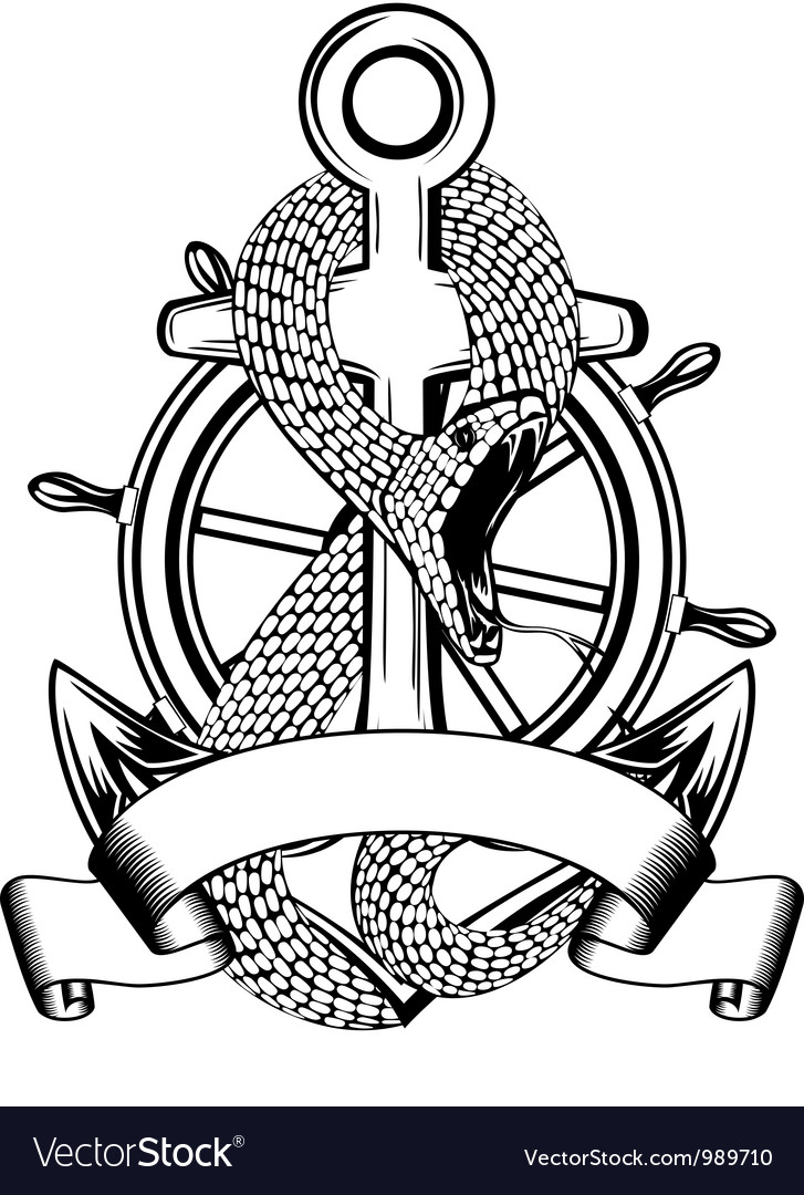 Snake anchor and steering wheel vector