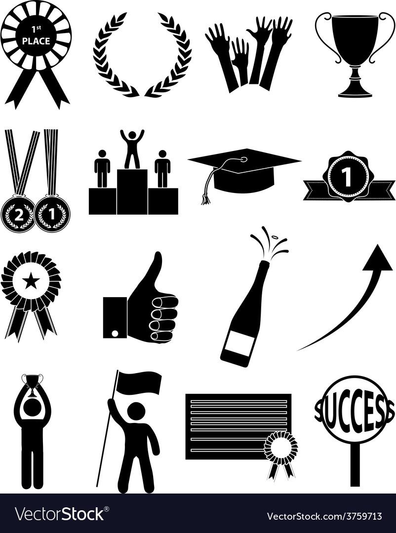Success icons set vector