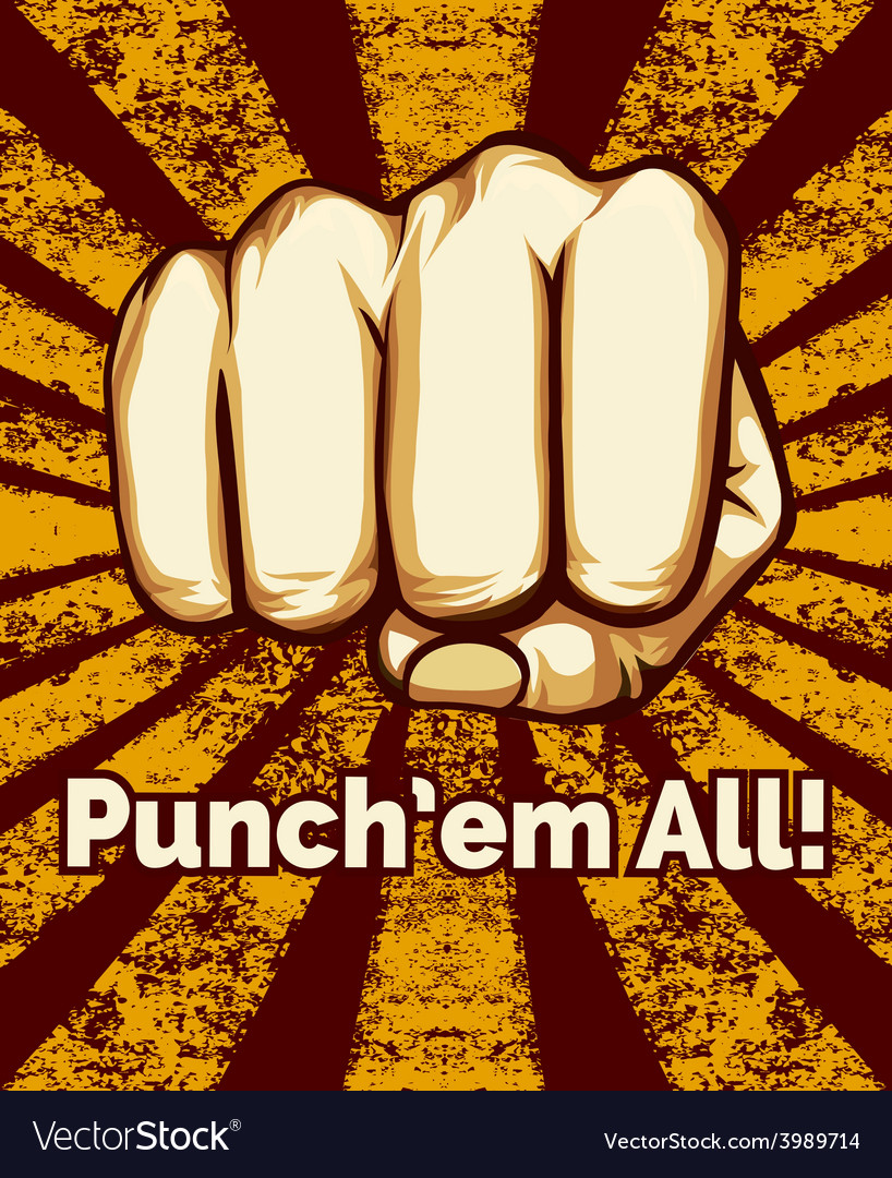 Retro punching fist poster vector