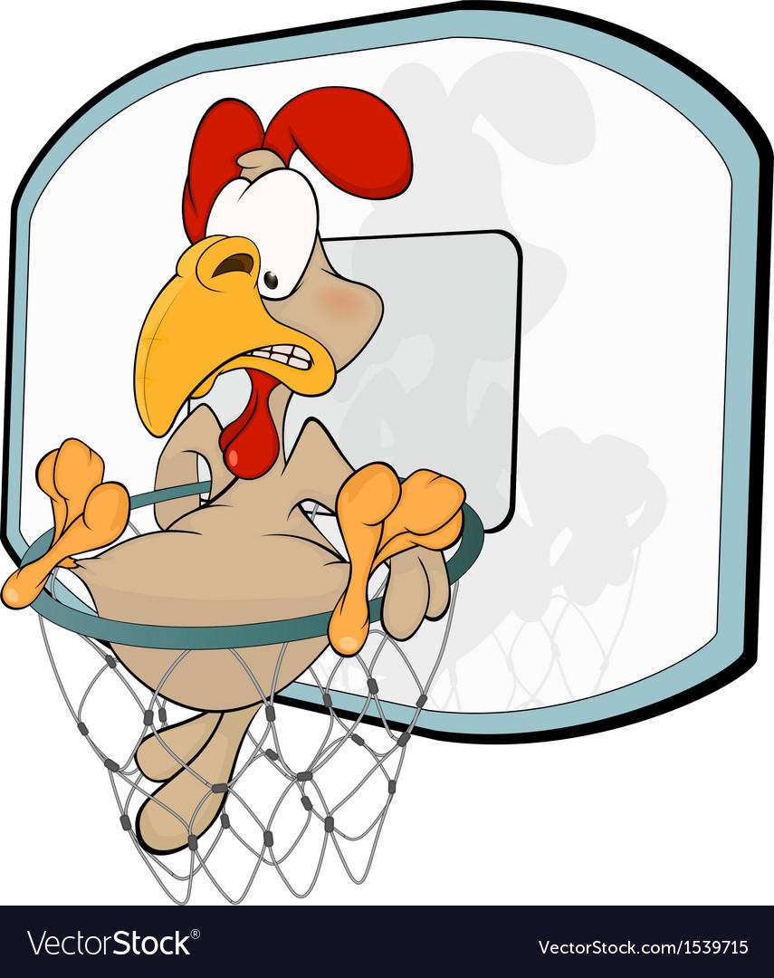Cockerel the basketball player cartoon vector