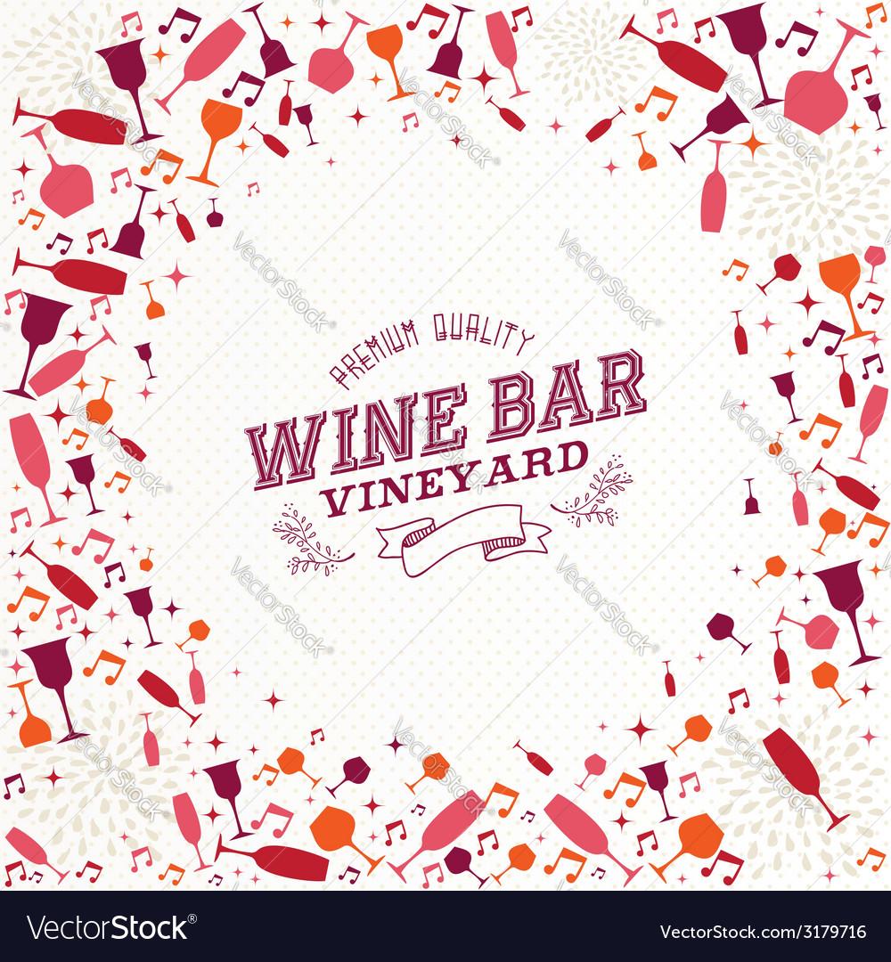 Vintage wine bar list background vector