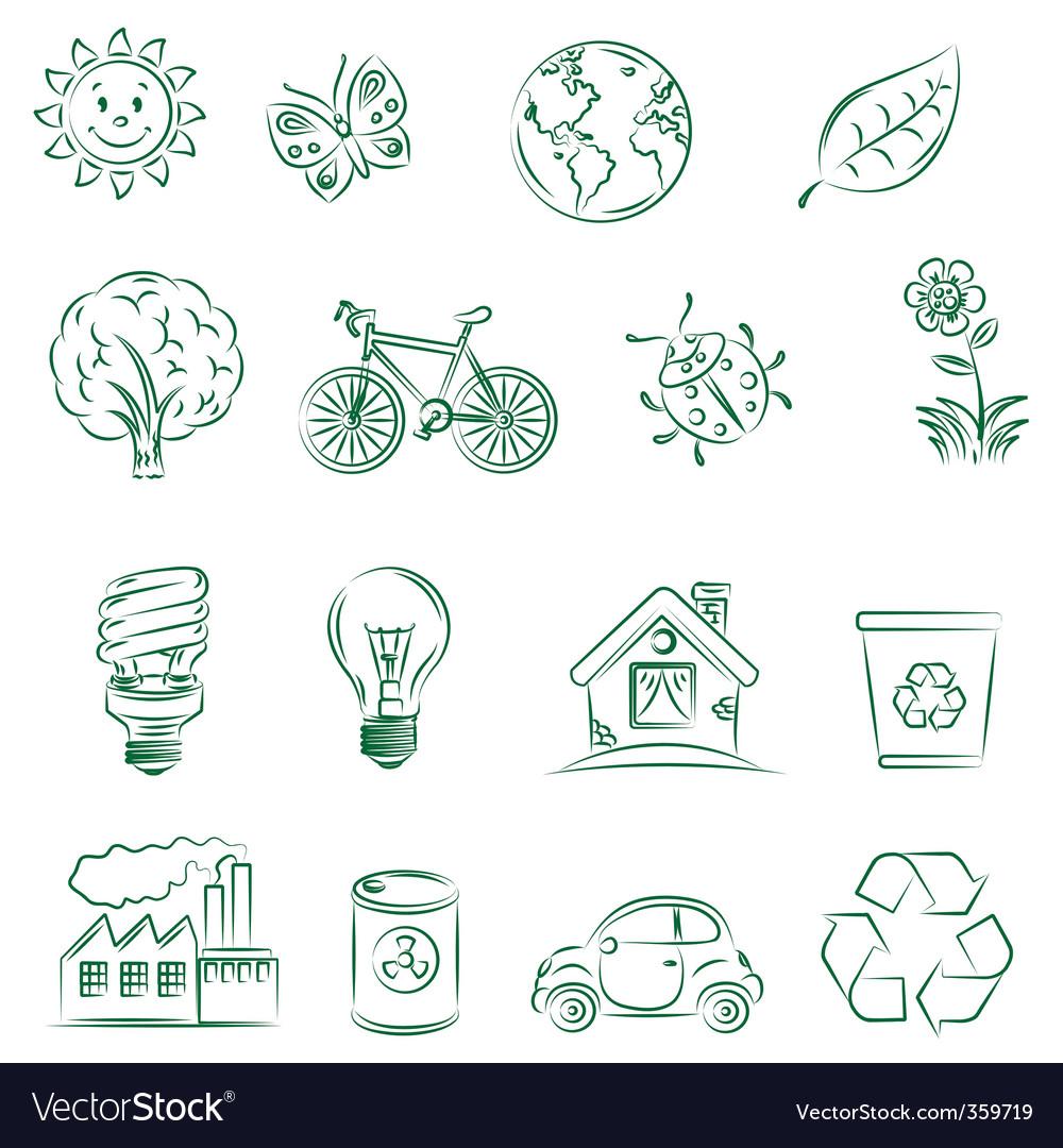 Ecology set vector
