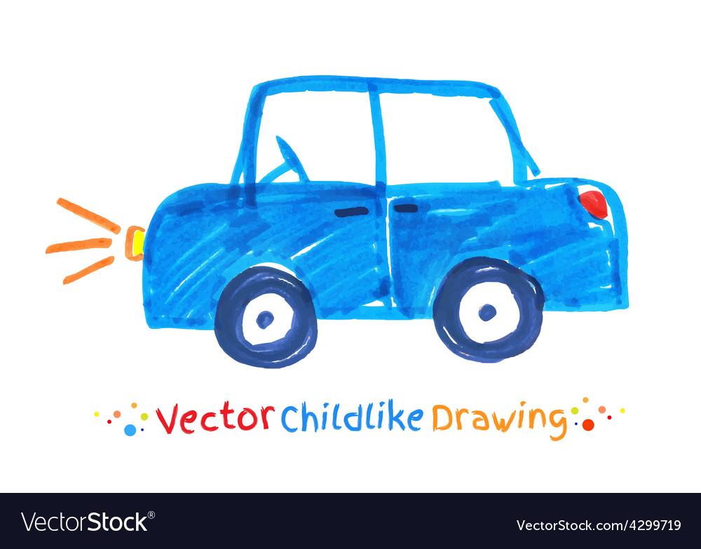 Felt pen childlike drawing of vehicle vector
