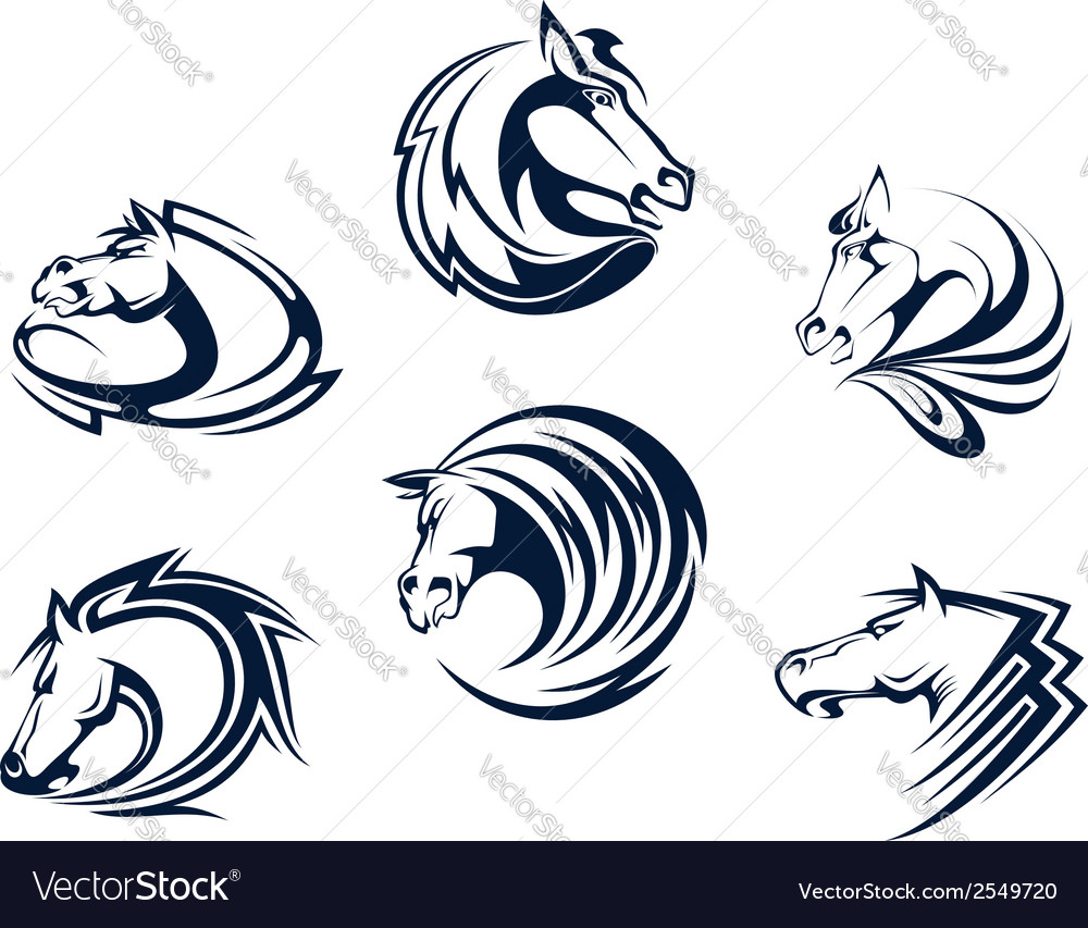 Horse mascots and emblems vector
