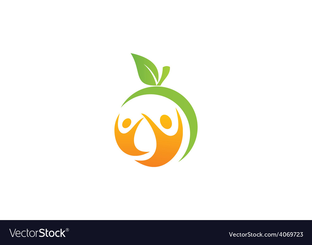 Health people fruit fitness logo vector