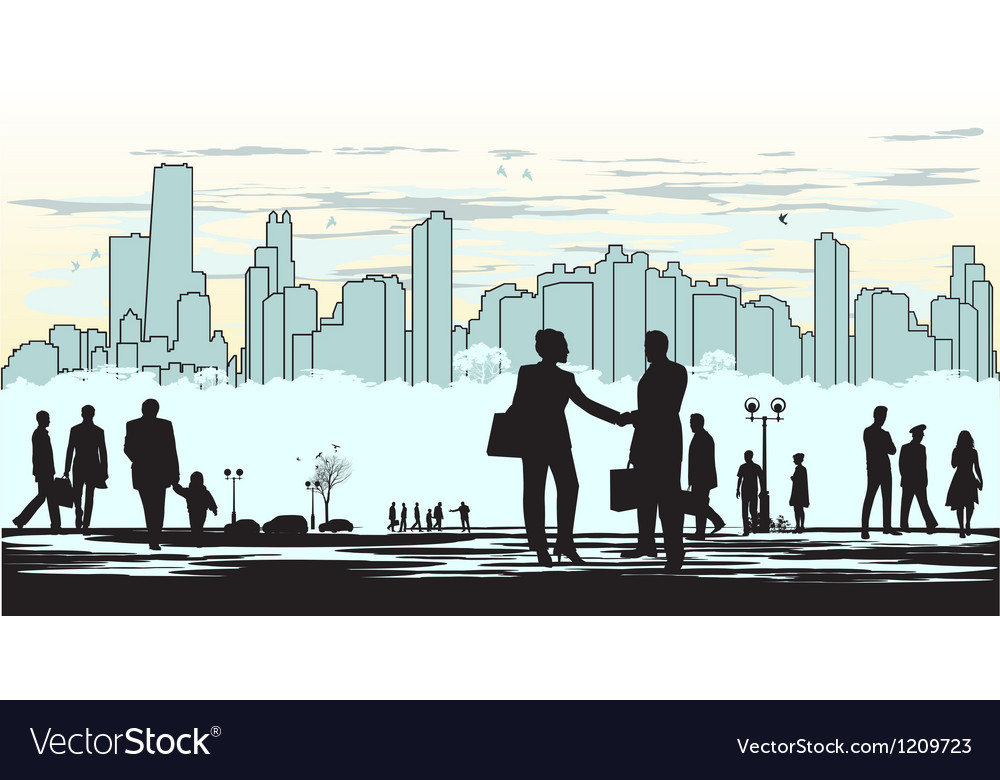 Outline silhouette of the city in cyan background vector